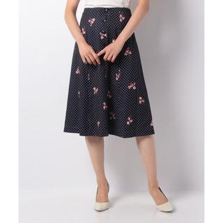 トランテアンソンドゥモード(31 Sons de mode)の【新品・タグ付き】春夏ドット×フラワープリントAラインスカート 2018(ひざ丈スカート)