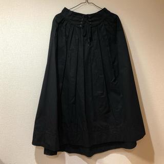 ダブルクローゼット(w closet)のwcloset レースアップイレギュラーヘムスカート ブラック(ロングスカート)