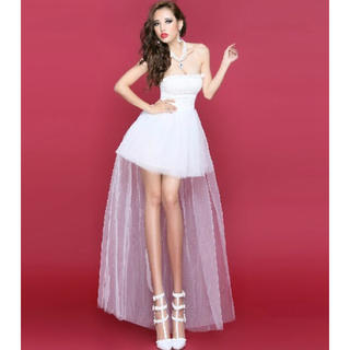 白 ミニウエディングドレス ワンピ ドレス ブライダル キャバドレス 結婚式(ミニドレス)