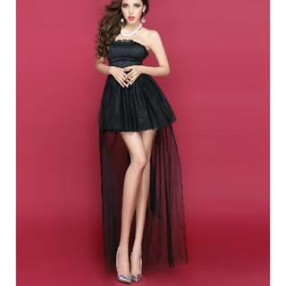 黒 ミニウエディングドレス ワンピ ドレス ブライダル キャバドレス 結婚式(ミニドレス)