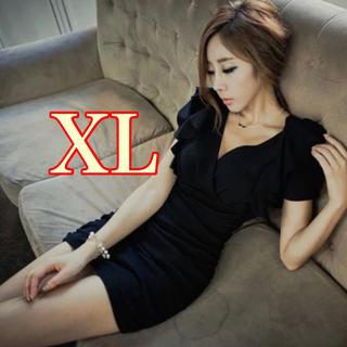 ラスト1点❗️ブラック ミニタイト ワンピ キャバドレス   XL(ミニドレス)