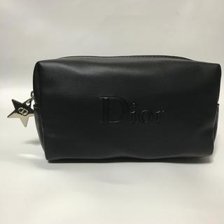 ディオール(Dior)の未使用 ディオール ソフトレザー調 星チャーム コスメポーチ ブラック黒DIOR(ポーチ)