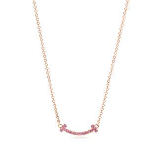 ティファニー(Tiffany & Co.)のティファニー ホリデー限定 Tスマイル ネックレス マイクロ ピンクサファイア(ネックレス)