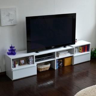 テレビ台 ロータイプ 伸縮機能 最大185cm ホワイト nzclub(リビング収納)