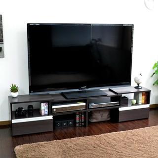 テレビ台 ロータイプ 伸縮機能 最大185cm ダークブラウン nzclub(リビング収納)