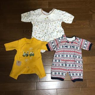 新生児☆ロンパースカバーオール 50〜60 男女共用イエローネコ 雪の結晶 蜂柄(カバーオール)