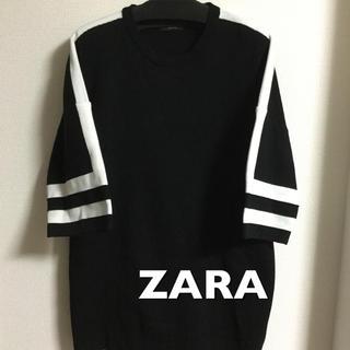ザラ(ZARA)の美品  ZARA MAN  半袖ニット 黒(ニット/セーター)