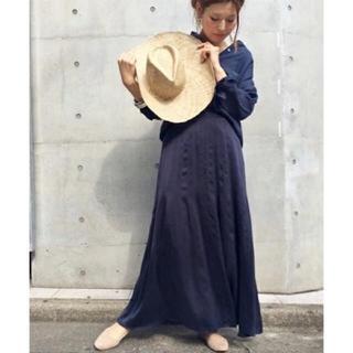 ドゥーズィエムクラス(DEUXIEME CLASSE)の新品 シルクマキシスカート☆紺(ロングスカート)