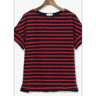 プラステ(PLST)のPLST ボーダーTシャツ バックギャザープルオーバー  ボーダーカットソー(Tシャツ(半袖/袖なし))