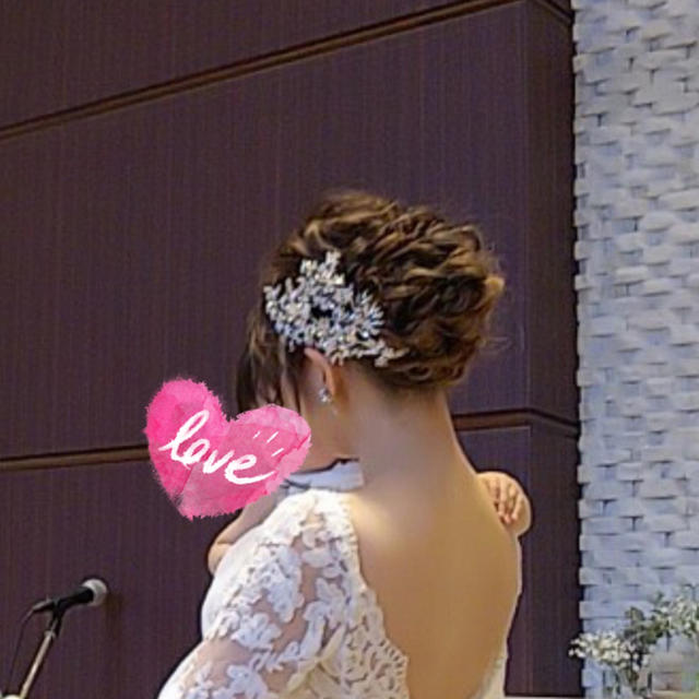 ヘッドドレス ヘッドパーツ ウェディング  ボンネ ハンドメイドのウェディング(ヘッドドレス/ドレス)の商品写真
