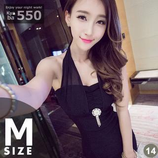 キャバドレス 14B 黒 ボディコン ホルターネック アクセ付 S-M-L(ミニドレス)
