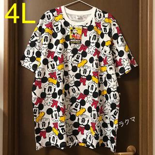 ディズニー(Disney)のミッキー 総柄 tシャツ 4L(Tシャツ/カットソー(半袖/袖なし))