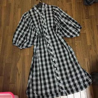 ダブルクローゼット(w closet)のダブルクローゼット チェックシャツワンピ(ひざ丈ワンピース)