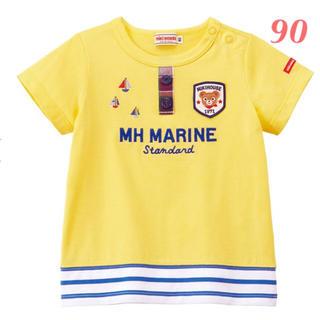 ミキハウス(mikihouse)のプッチー 裾ボーダー半袖Tシャツ 黄90㎝ (Tシャツ/カットソー)