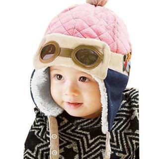 『新品』(ピンク)ベビーキッズ★メガネ付きフリース帽子(帽子)