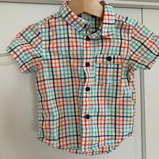 エイチアンドエム(H&M)のH&M 半袖チェック柄シャツ size68cm 4〜6M(ヶ月)(シャツ/カットソー)