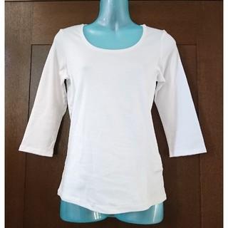 ユニクロ(UNIQLO)の美品 七分袖Tシャツ スーピマコットン 白 ユニクロ M(Tシャツ(長袖/七分))