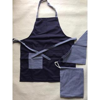 ★ハンドメイド★エプロン・三角巾・巾着3点 150㎝ 紺×ギンガムチェック(ファッション雑貨)