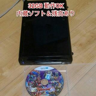 ウィーユー(Wii U)のWiiu32GB黒 本体のみ 内蔵ソフト&残高&ディスク1枚(家庭用ゲーム本体)