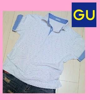 ジーユー(GU)の爽やか💖GU ドット柄 ポロシャツ 水玉柄 ジーユー  (ポロシャツ)