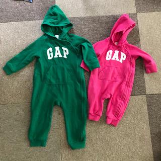 ベビーギャップ(babyGAP)のbaby GAPロンパース☆グリーン18〜24ヶ月、ピンク3〜6ヶ月(ロンパース)