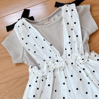 プティマイン(petit main)のpetitmain*ドットペプラムTシャツ(Tシャツ/カットソー)