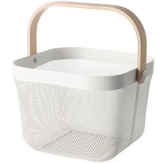 イケア(IKEA)の新品未使用  イケア バスケット RISATORP ホワイト(バスケット/かご)
