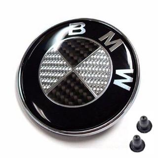 ビーエムダブリュー(BMW)の高品質◇BMW カーボンエンブレム 82mm グロメット付き ブラック 高耐久性(車外アクセサリ)
