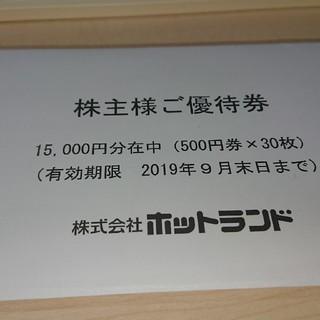ホットランドの株主優待券15000円分 築地銀だこ(フード/ドリンク券)