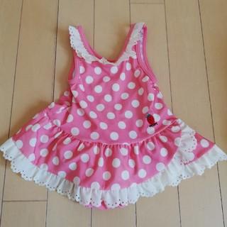 キムラタン(キムラタン)の水玉ピンク女の子水着 ふりふりレース巻きスカート風 (水着)
