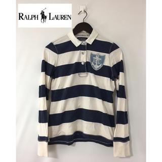 ポロラルフローレン(POLO RALPH LAUREN)のポロジーンズ ラルフローレン 長袖ボーダー ラガーシャツ ポロシャツ 紺×白 L(ポロシャツ)