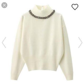 ジーユー(GU)の♡GU♡ビジューハイネックセーター♡白♡(ニット/セーター)