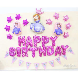プリンセス ソフィア ビッグバルーン 誕生日 パーティー セット 星 ガーランド(キャラクターグッズ)
