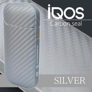 アイコス(IQOS)のアイコスシール カーボン 素材 シルバー(タバコグッズ)