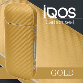 アイコス(IQOS)のアイコスシール カーボン 素材 ゴールド(タバコグッズ)