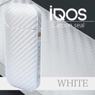 アイコス(IQOS)のアイコスシール カーボン 素材 ホワイト 白(タバコグッズ)