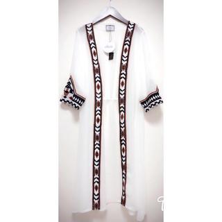 オルテガ 柄 刺繍 シフォン ロングガウン ホワイト(カーディガン)