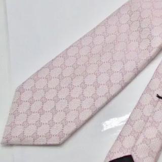 グッチ(Gucci)の新品未使用 シルク100% グッチ ネクタイ GGパターン ピンク(ネクタイ)