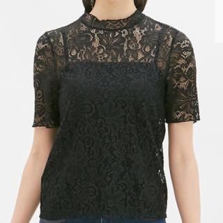 ジーユー(GU)のレースフリルネックT(半袖) ジーユー GU(シャツ/ブラウス(半袖/袖なし))