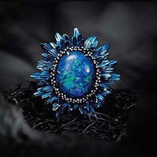 ブルーオパール フラワー 花 リング 指輪(リング(指輪))