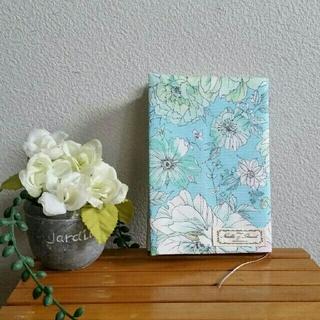 文庫本ブックカバー☆siulas☆フラワーブルー ハンドメイド(ブックカバー)