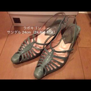 サヤラボキゴシ(SAYA / RABOKIGOSHI)のworksラボキゴシ バックストラップサンダル24.5センチ ブルー系(サンダル)