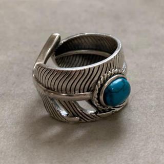 シルバー925 天然石ターコイズ フェザーリング  シルバー(リング(指輪))
