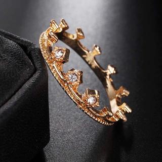 AAAランク ダイヤモンドcz クラウン 王冠 リング 指輪 ゴールド(リング(指輪))