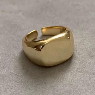 シルバー925 ゴールド 印台リング カレッジリング (リング(指輪))
