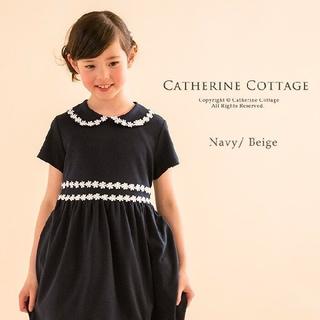 Catherine Cottage - 【未使用、タグ付き】 キャサリンコテージ ワンピース ネイビー 130