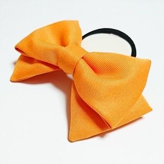 オレンジ色リボン 髪飾り コスプレ衣装小物 ハンドメイド ハロウィン コミケ(ヘアゴム/シュシュ)