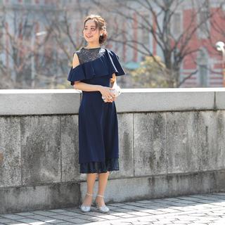 AVA:ワンショルダーフリルドレスL_ny 即日発送(ロングドレス)
