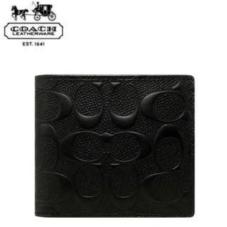 コーチ(COACH)のコーチ 二つ折り財布 F75363 黒 シグネチャー型押しクロスグレインレザー(折り財布)