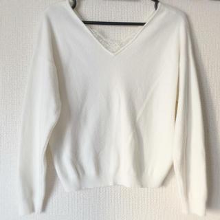 リランドチュール(Rirandture)の美品♡Vネックレースニット ホワイト(ニット/セーター)